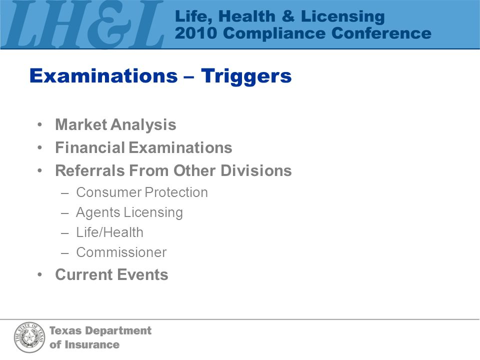 Examinations – Triggers