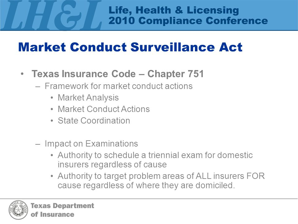 Market Conduct Surveillance Act