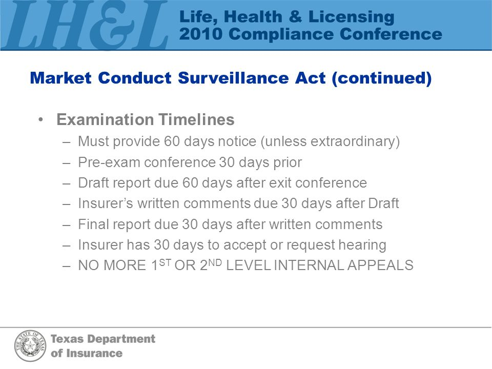 Market Conduct Surveillance Act (continued)