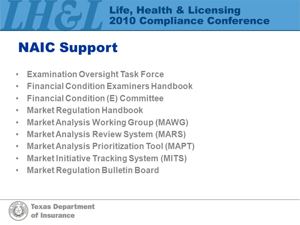 NAIC Support Examination Oversight Task Force