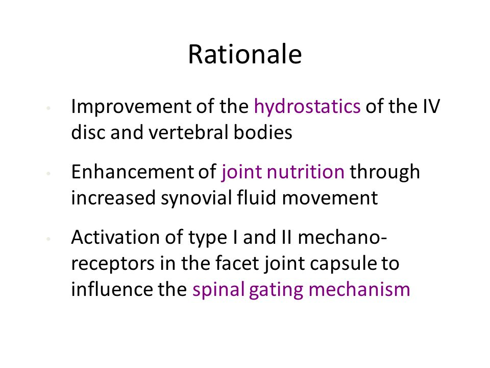 Rationale Improvement of the hydrostatics of the IV disc and vertebral bodies.