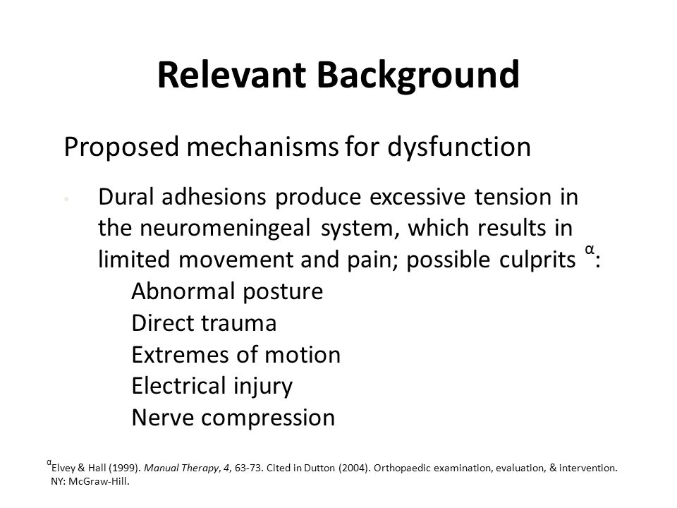 Relevant Background Proposed mechanisms for dysfunction