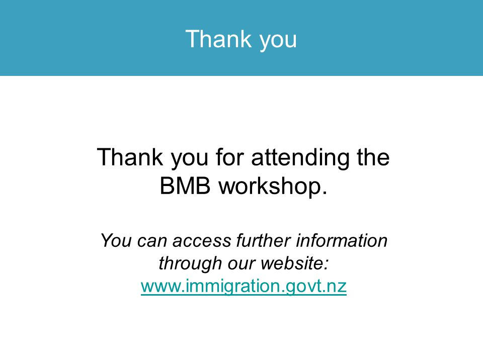 Thank you for attending the BMB workshop.