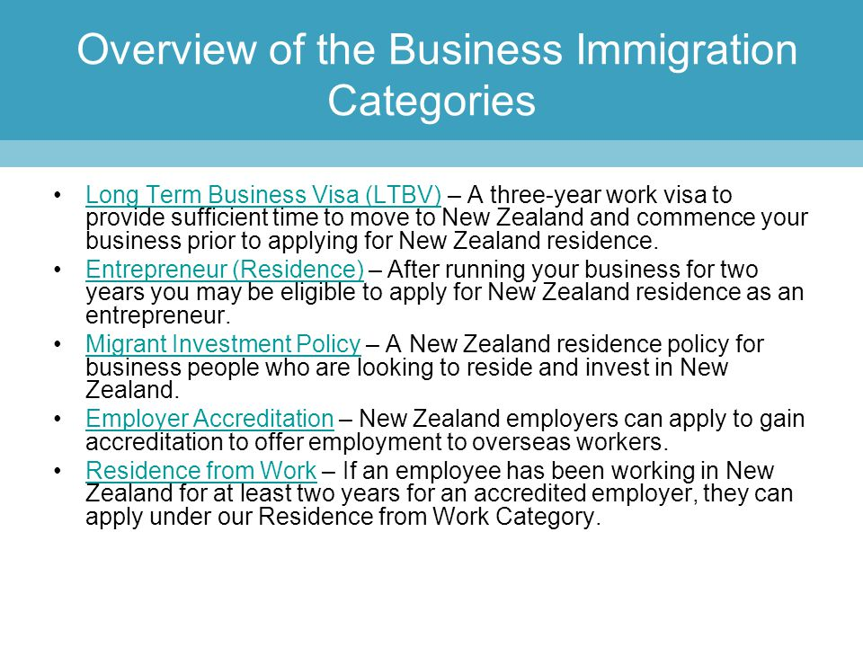 Overview of the Business Immigration Categories