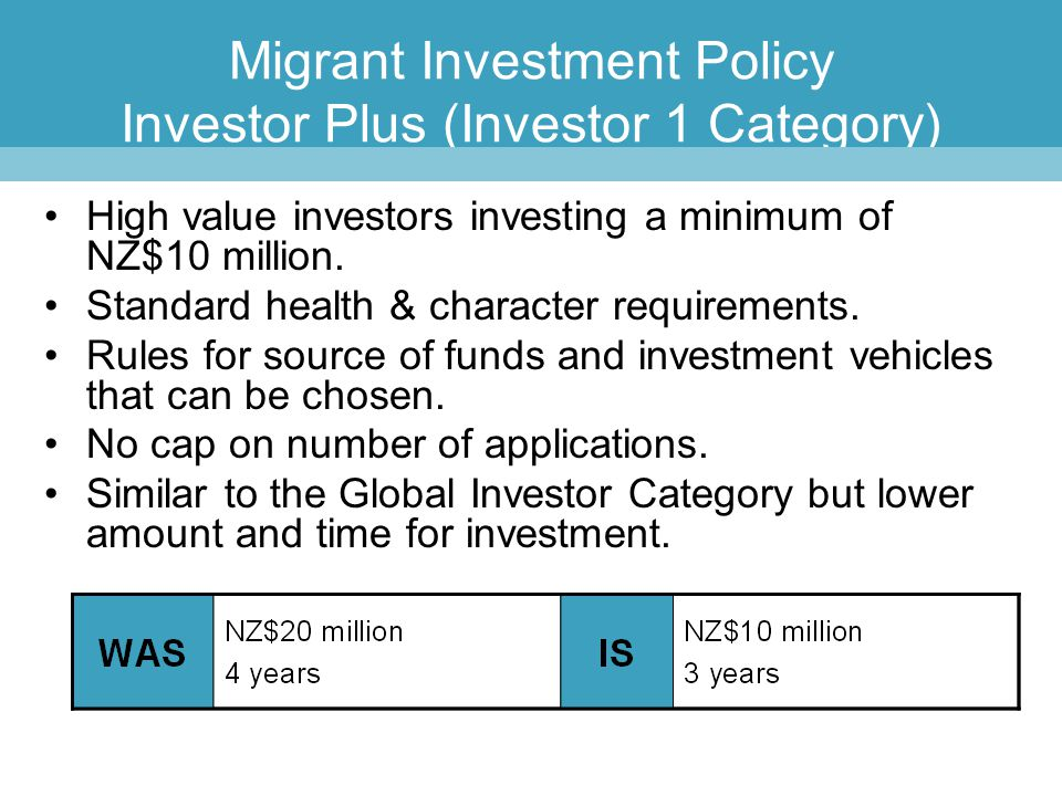 Migrant Investment Policy Investor Plus (Investor 1 Category)