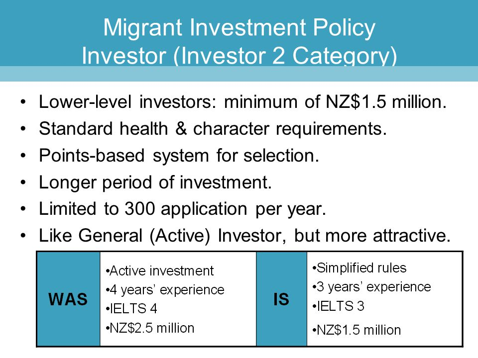Migrant Investment Policy Investor (Investor 2 Category)