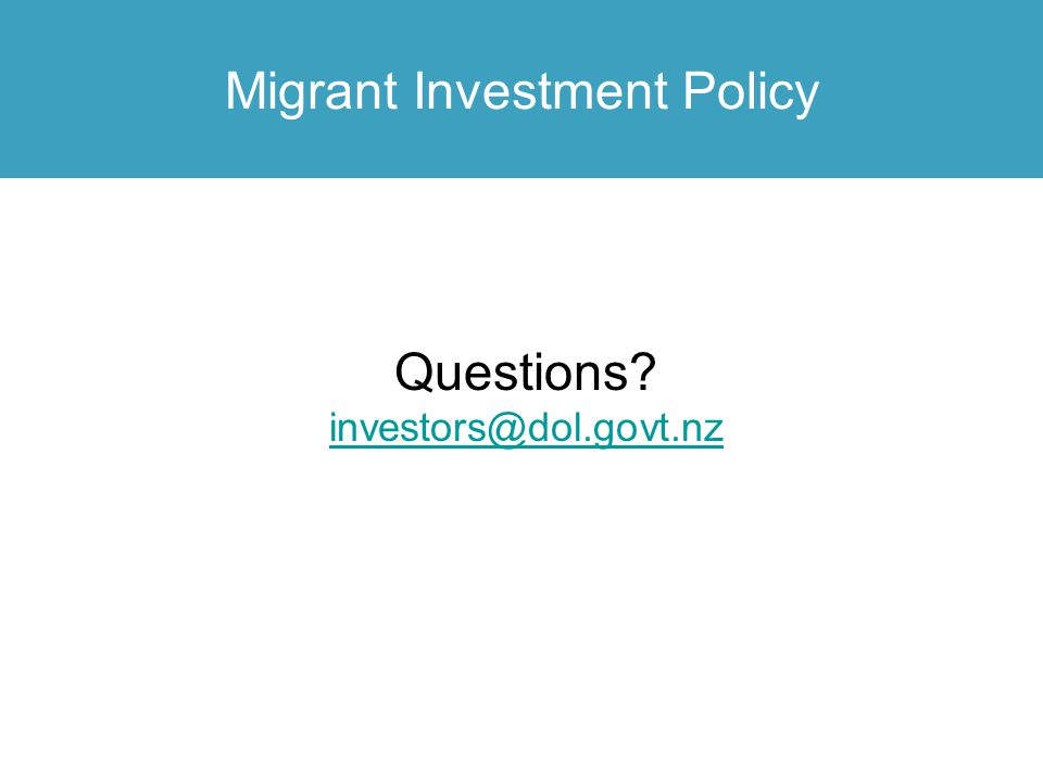 Migrant Investment Policy
