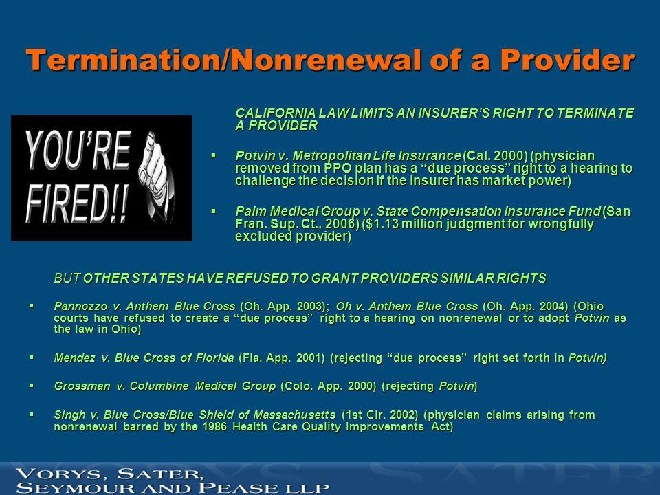 Termination/Nonrenewal of a Provider