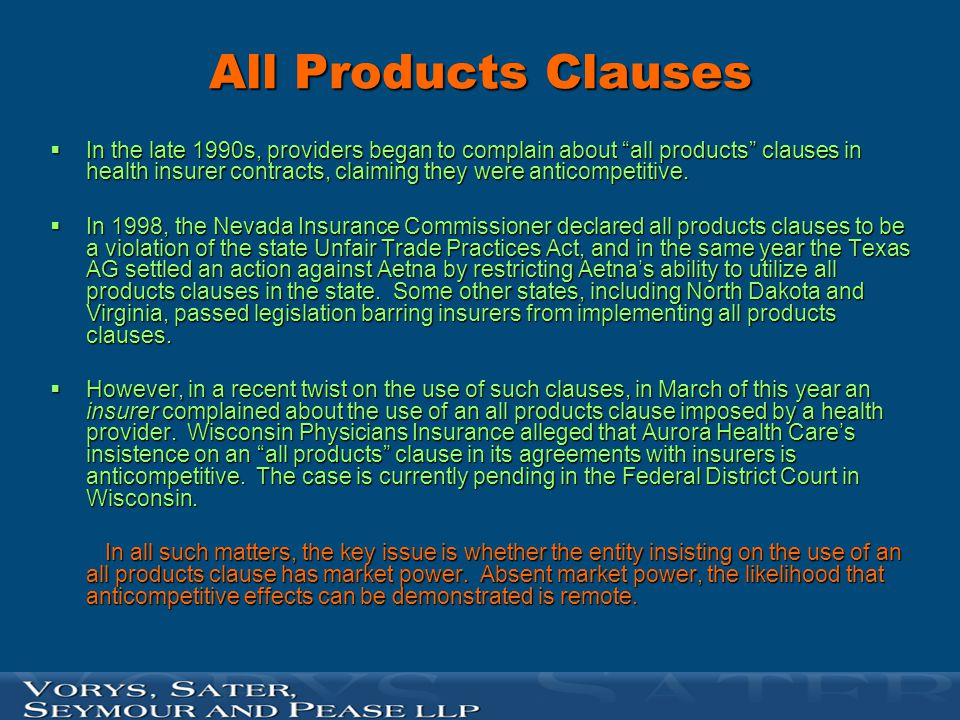 All Products Clauses