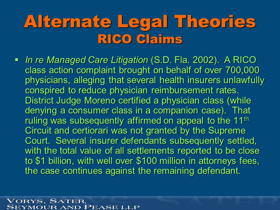 Alternate Legal Theories RICO Claims