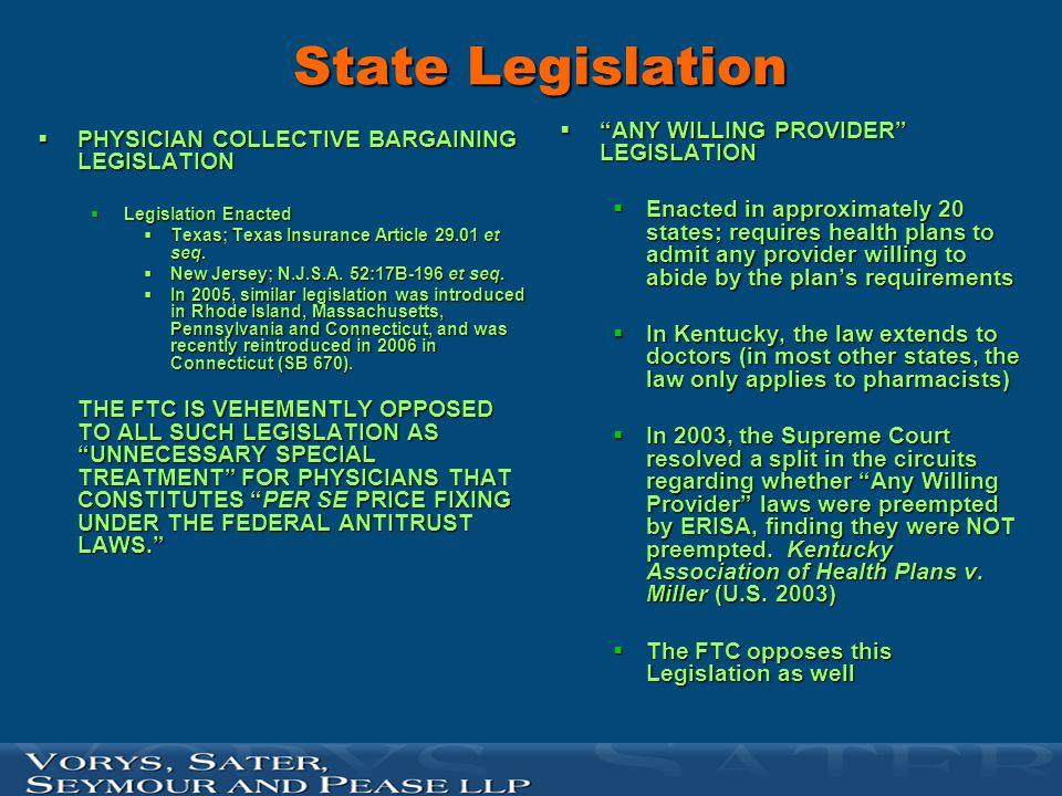 State Legislation ANY WILLING PROVIDER LEGISLATION
