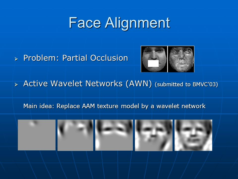 Face Alignment Problem: Partial Occlusion. Active Wavelet Networks (AWN) (submitted to BMVC'03)