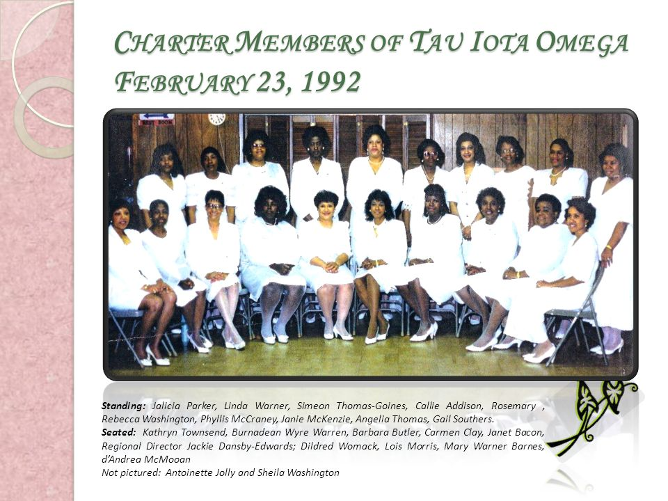 Charter Members of Tau Iota Omega February 23, 1992