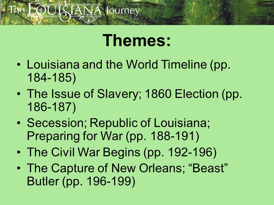Themes: Louisiana and the World Timeline (pp. 184-185)