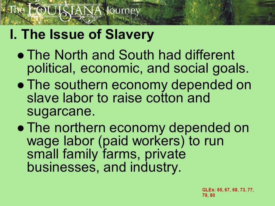 I. The Issue of Slavery The North and South had different political, economic, and social goals.