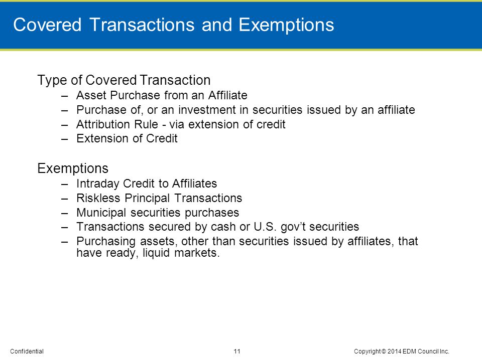 Covered Transactions and Exemptions