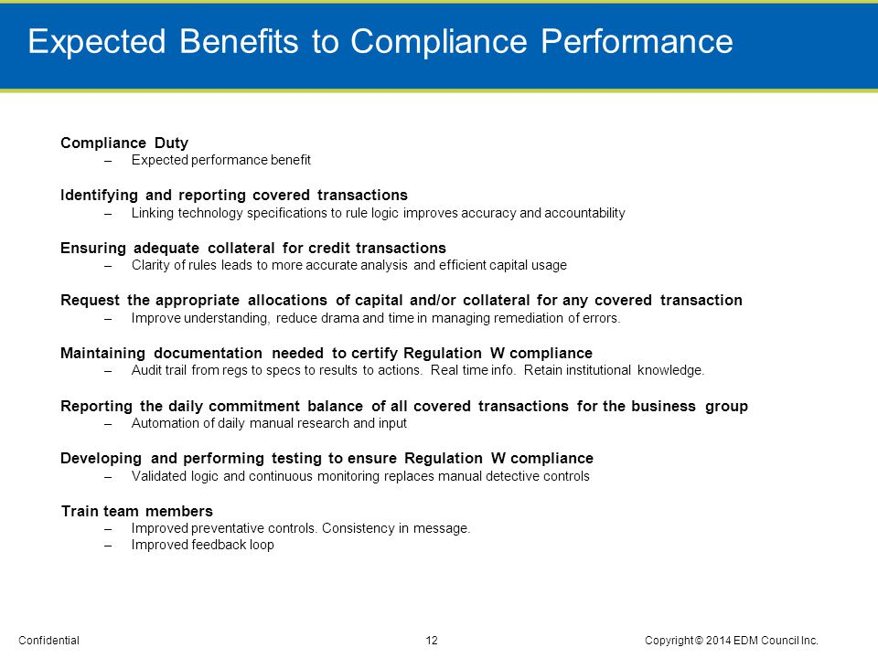 Expected Benefits to Compliance Performance