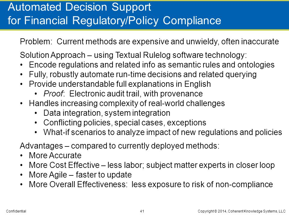 Automated Decision Support for Financial Regulatory/Policy Compliance