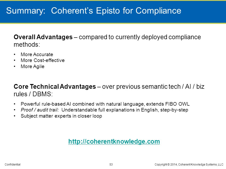 Summary: Coherent's Episto for Compliance
