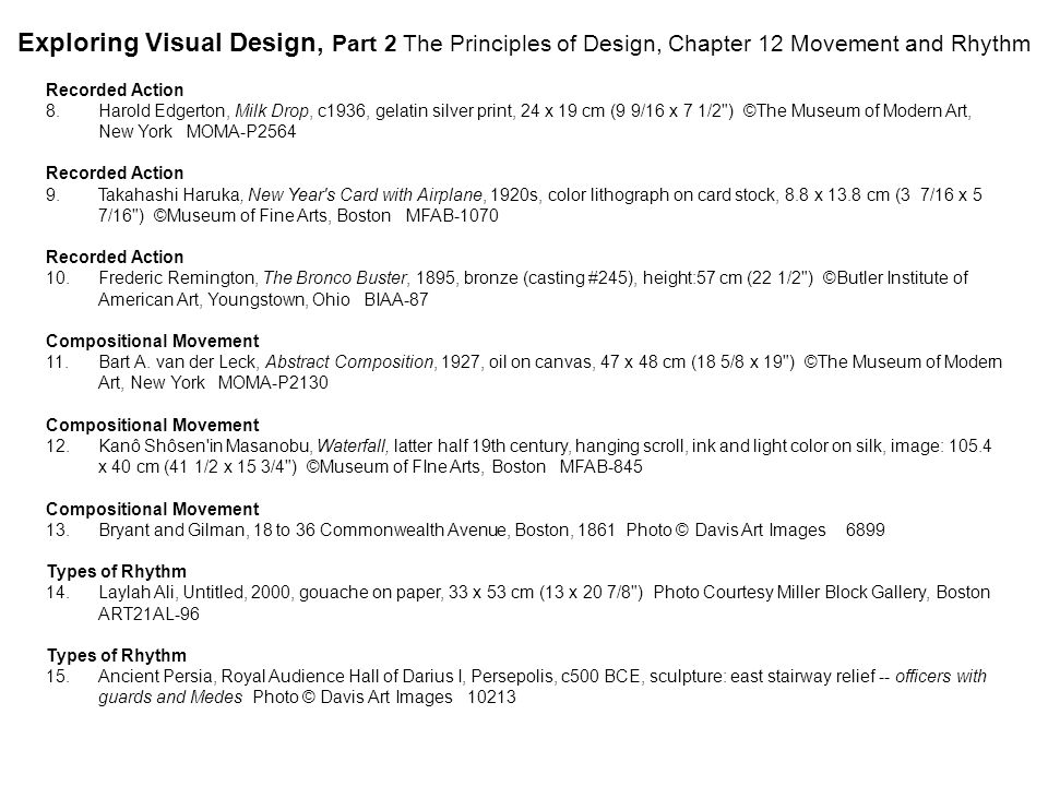 Exploring Visual Design, Part 2 The Principles of Design, Chapter 12 Movement and Rhythm