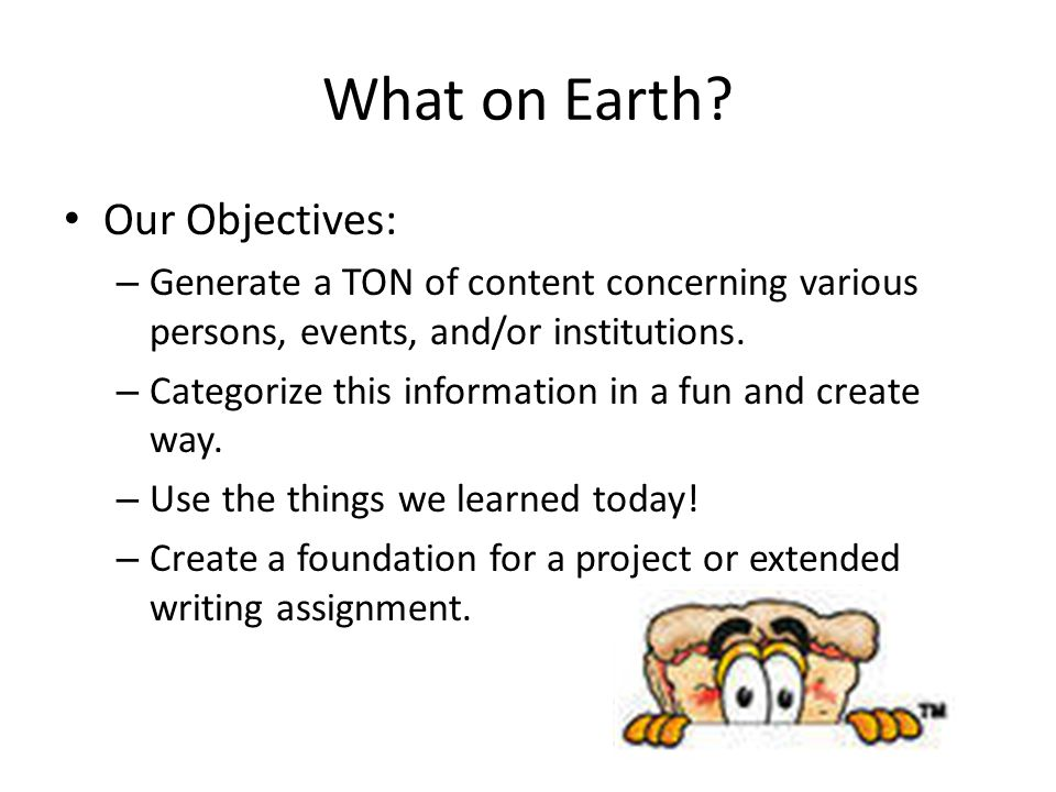 What on Earth Our Objectives:
