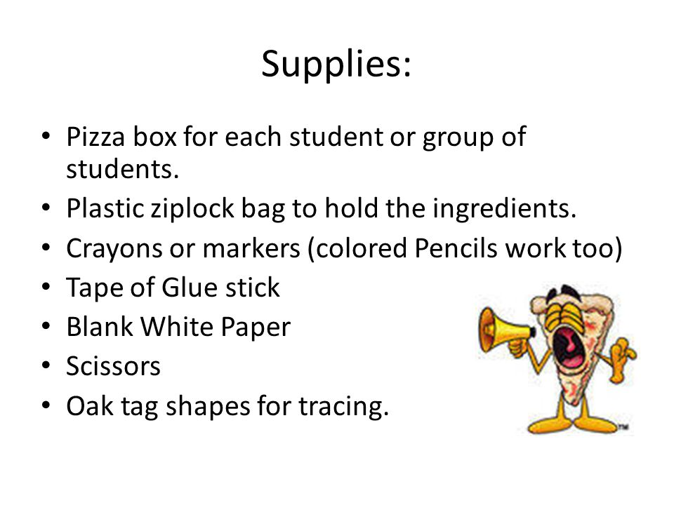 Supplies: Pizza box for each student or group of students.