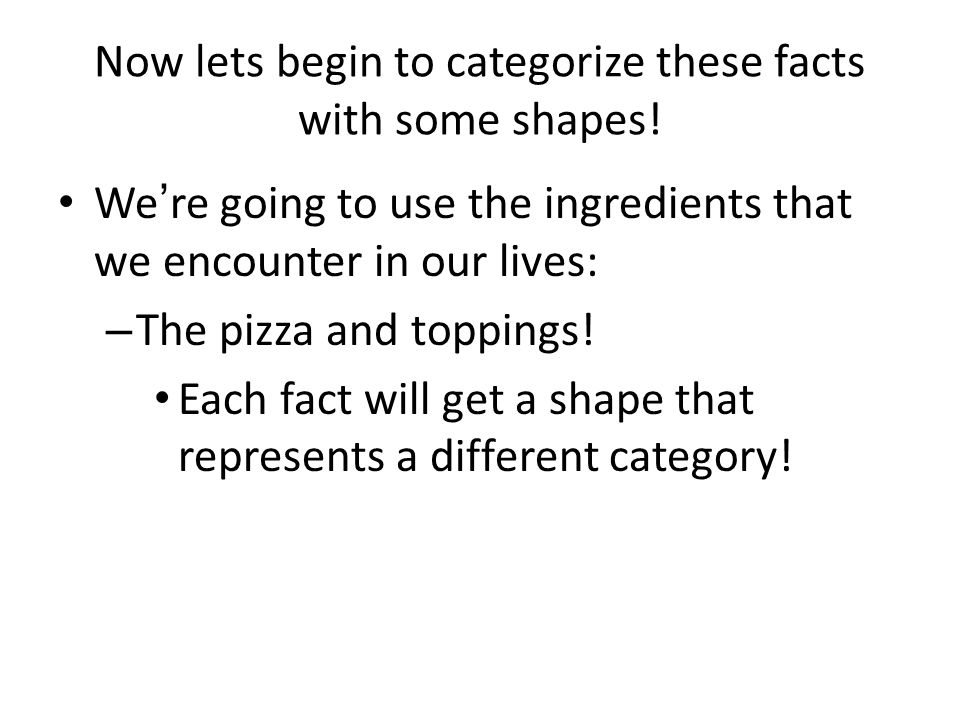 Now lets begin to categorize these facts with some shapes!