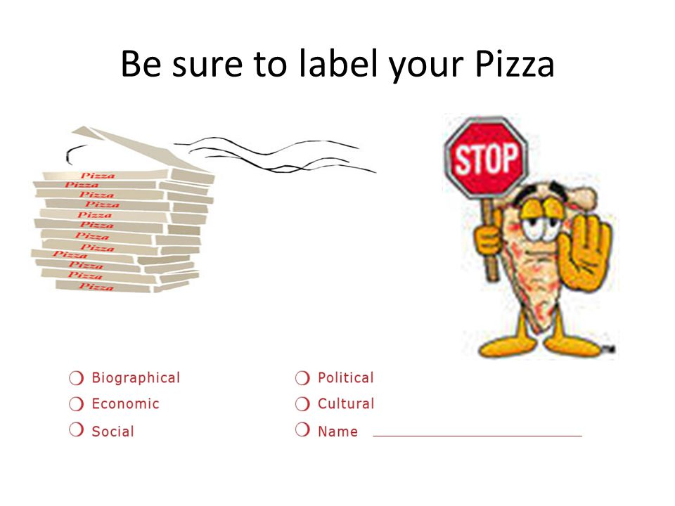 Be sure to label your Pizza