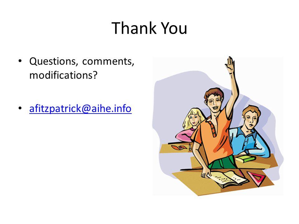 Thank You Questions, comments, modifications afitzpatrick@aihe.info