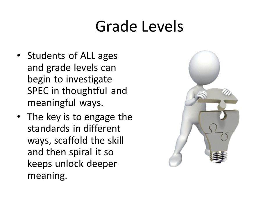 Grade Levels Students of ALL ages and grade levels can begin to investigate SPEC in thoughtful and meaningful ways.