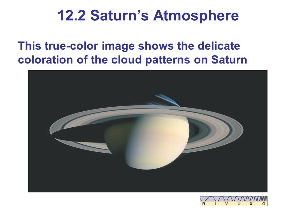 12.2 Saturn's Atmosphere This true-color image shows the delicate coloration of the cloud patterns on Saturn.
