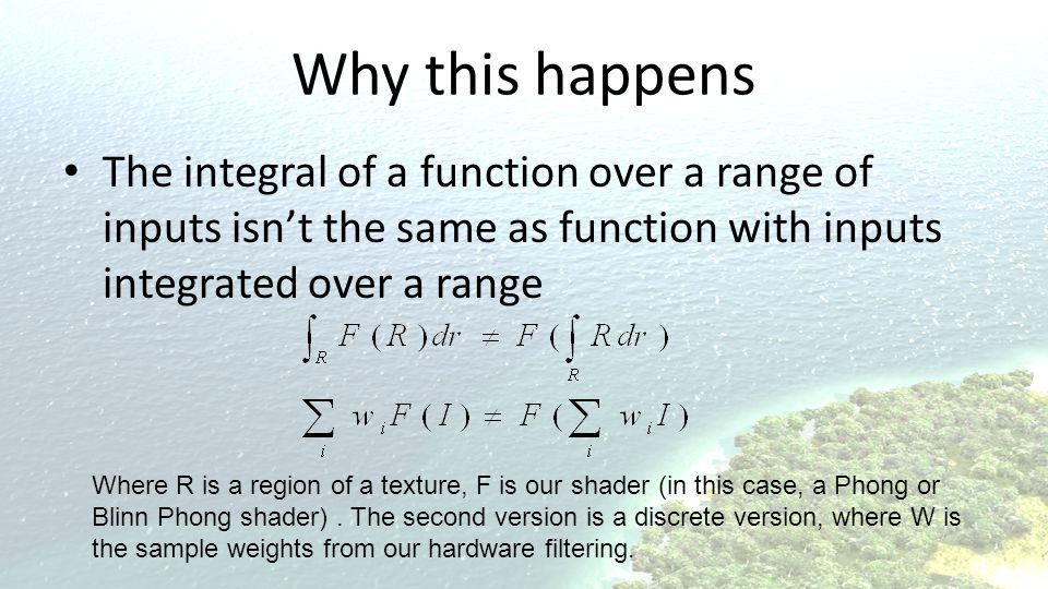 Why this happens The integral of a function over a range of inputs isn't the same as function with inputs integrated over a range.