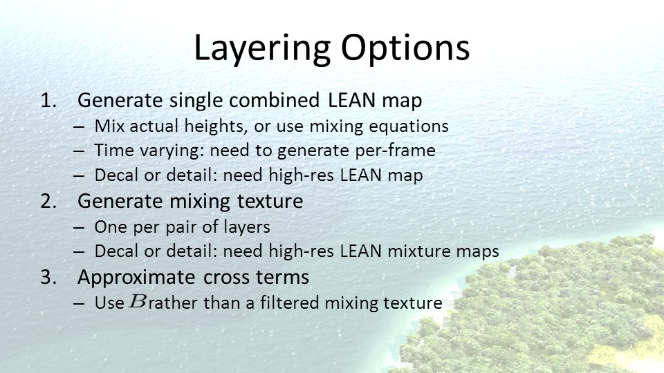 Layering Options Generate single combined LEAN map