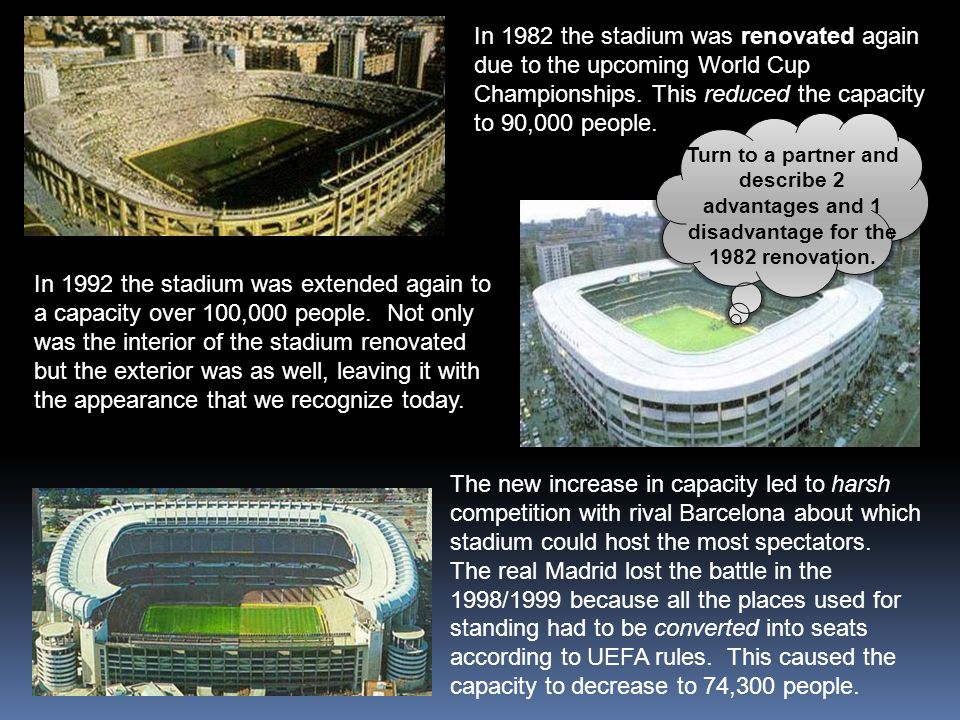 In 1982 the stadium was renovated again due to the upcoming World Cup Championships. This reduced the capacity to 90,000 people.