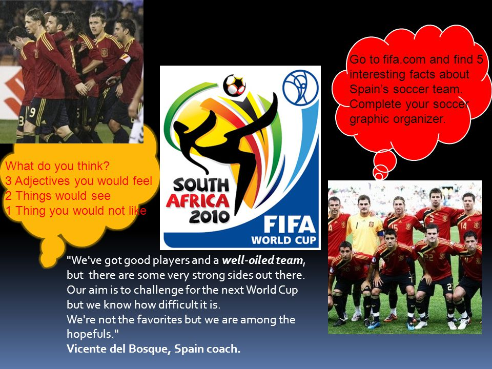 Go to fifa. com and find 5 interesting facts about Spain's soccer team