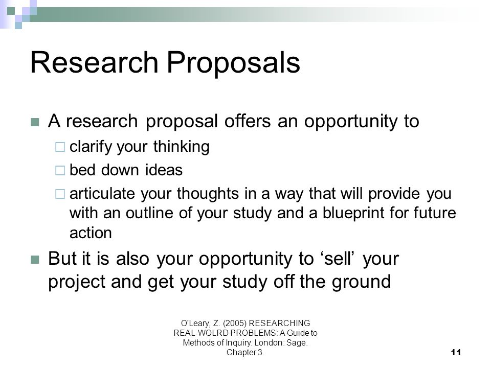 Research Proposals A research proposal offers an opportunity to