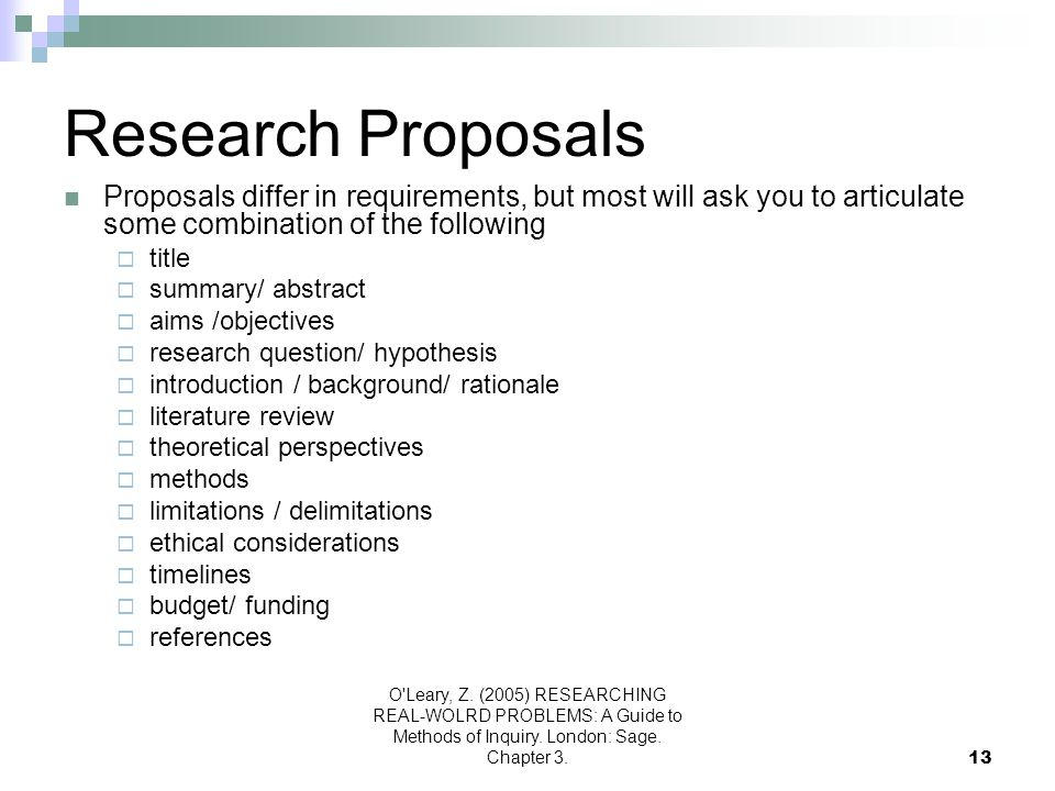 Research Proposals Proposals differ in requirements, but most will ask you to articulate some combination of the following.