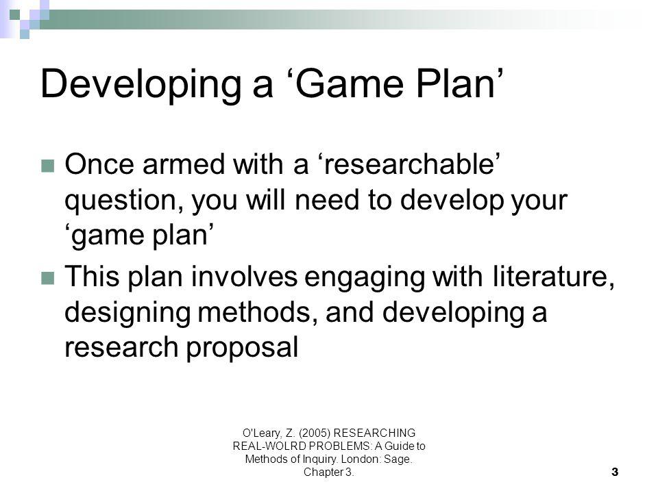 Developing a 'Game Plan'