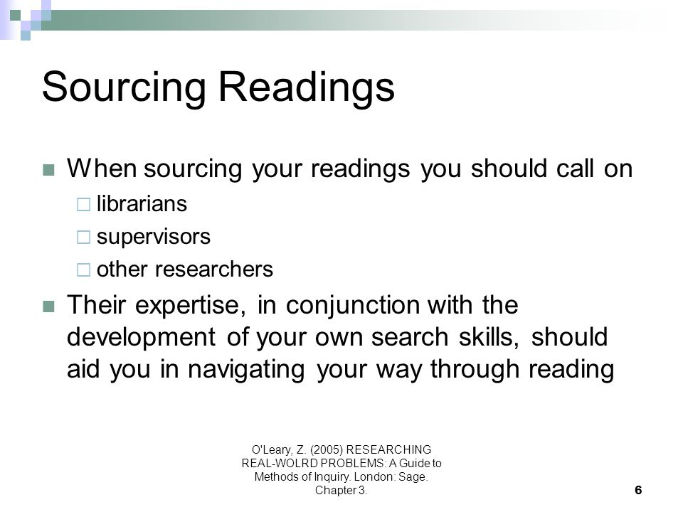 Sourcing Readings When sourcing your readings you should call on