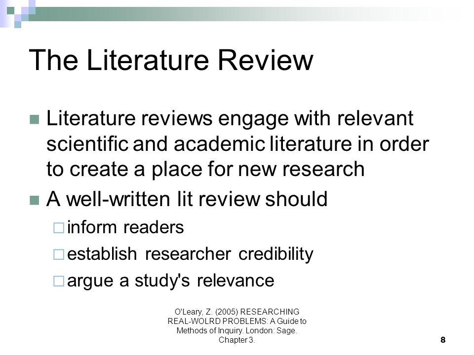 The Literature Review Literature reviews engage with relevant scientific and academic literature in order to create a place for new research.