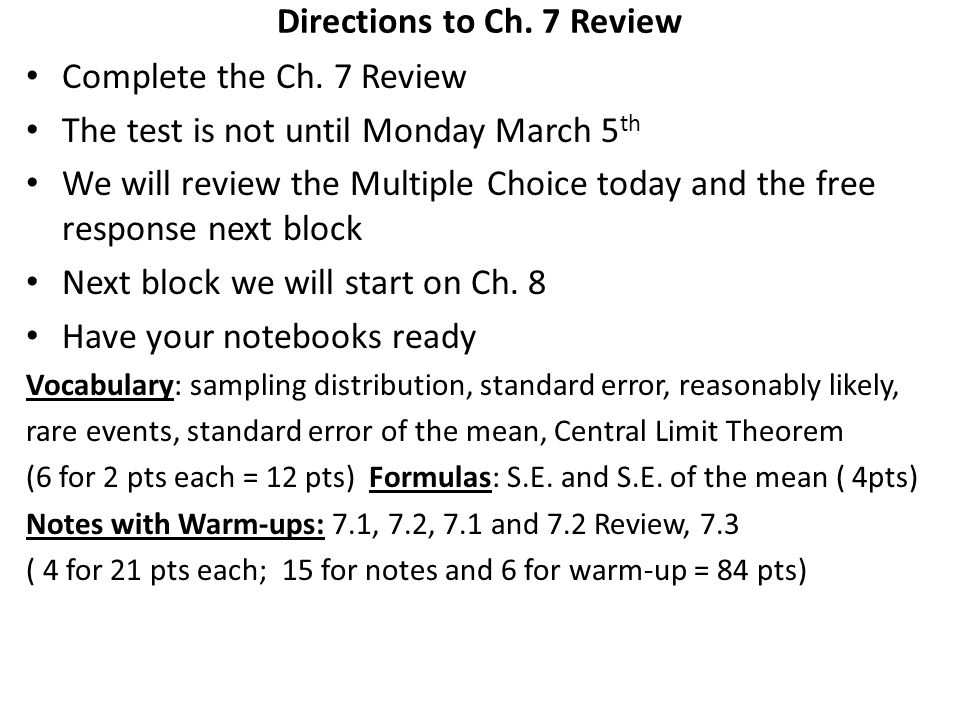 Directions to Ch. 7 Review
