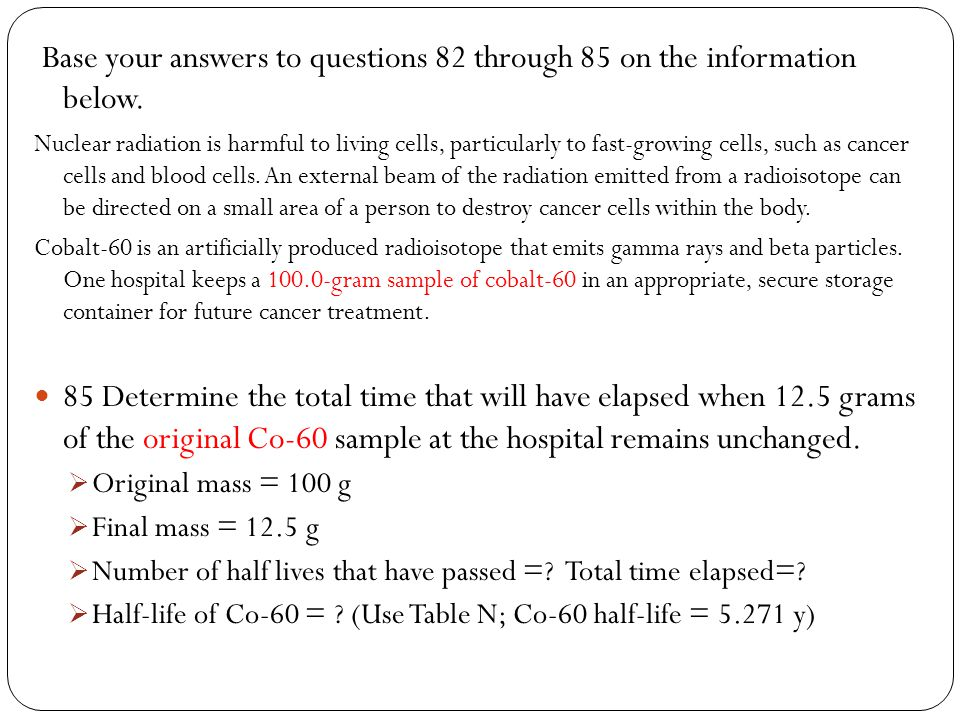 Base your answers to questions 82 through 85 on the information below.