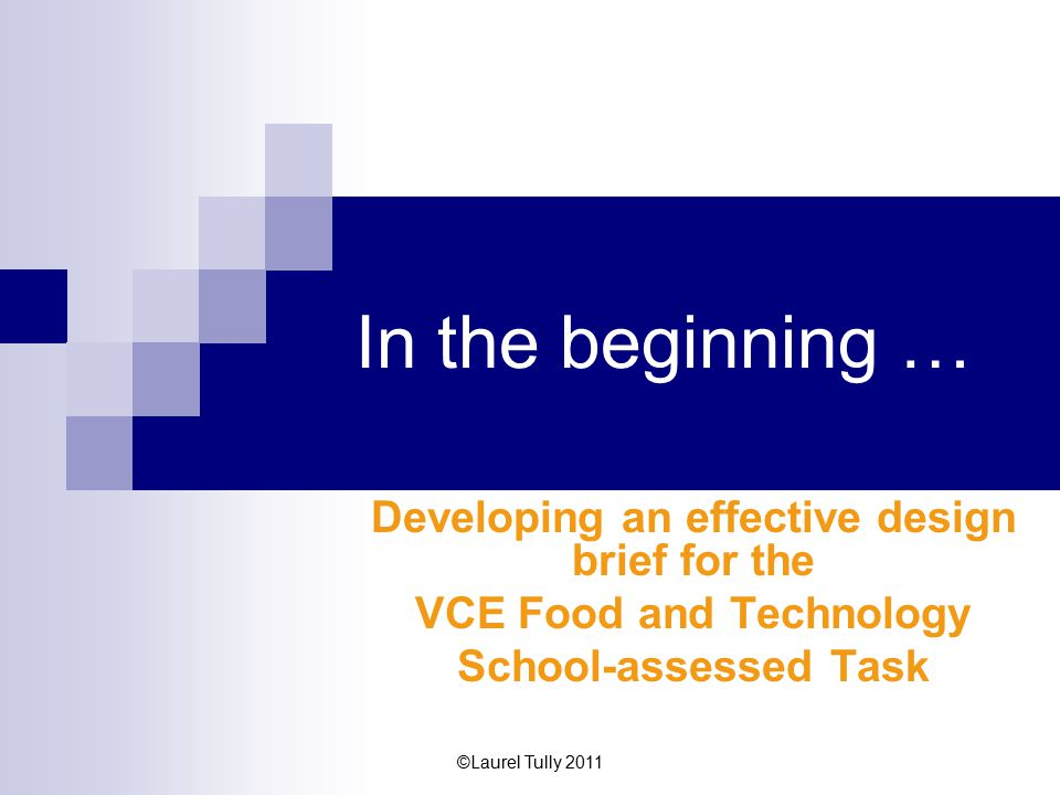 Developing an effective design brief for the VCE Food and Technology