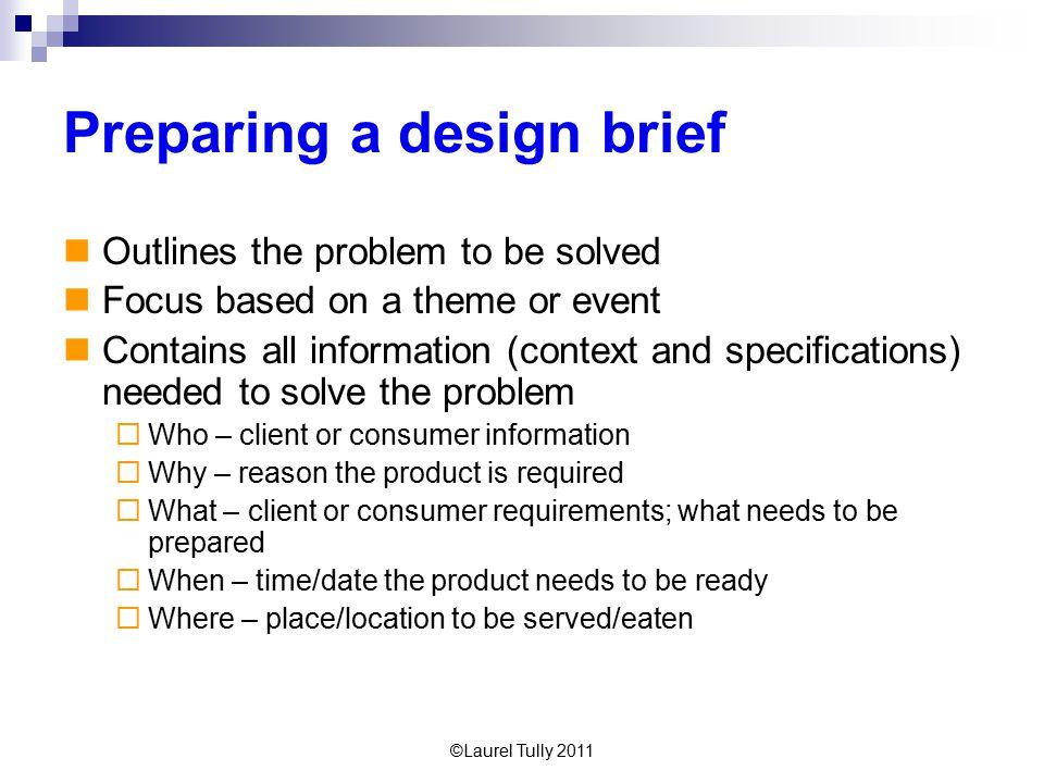 Preparing a design brief