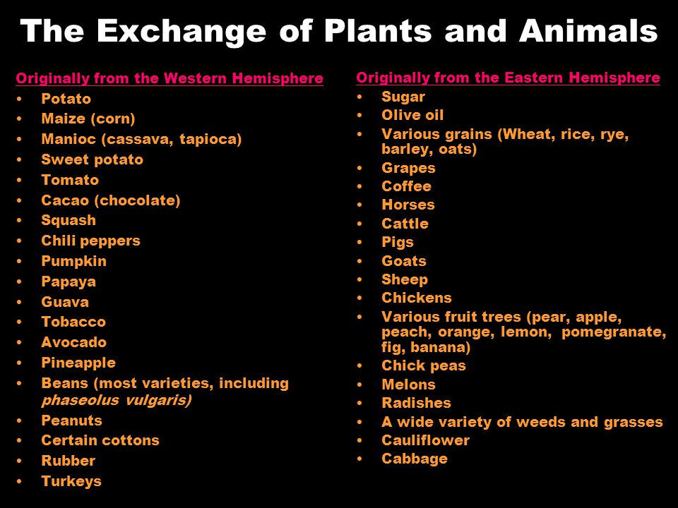 The Exchange of Plants and Animals