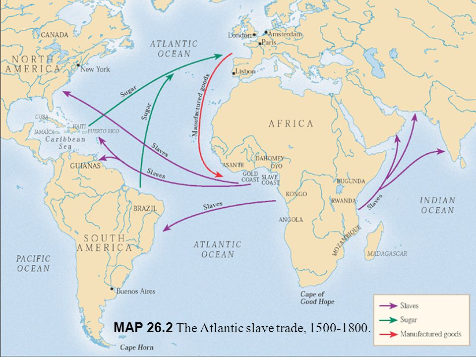 MAP 26.2 The Atlantic slave trade, 1500-1800.