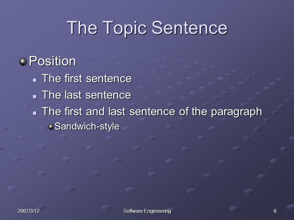 The Topic Sentence Position The first sentence The last sentence
