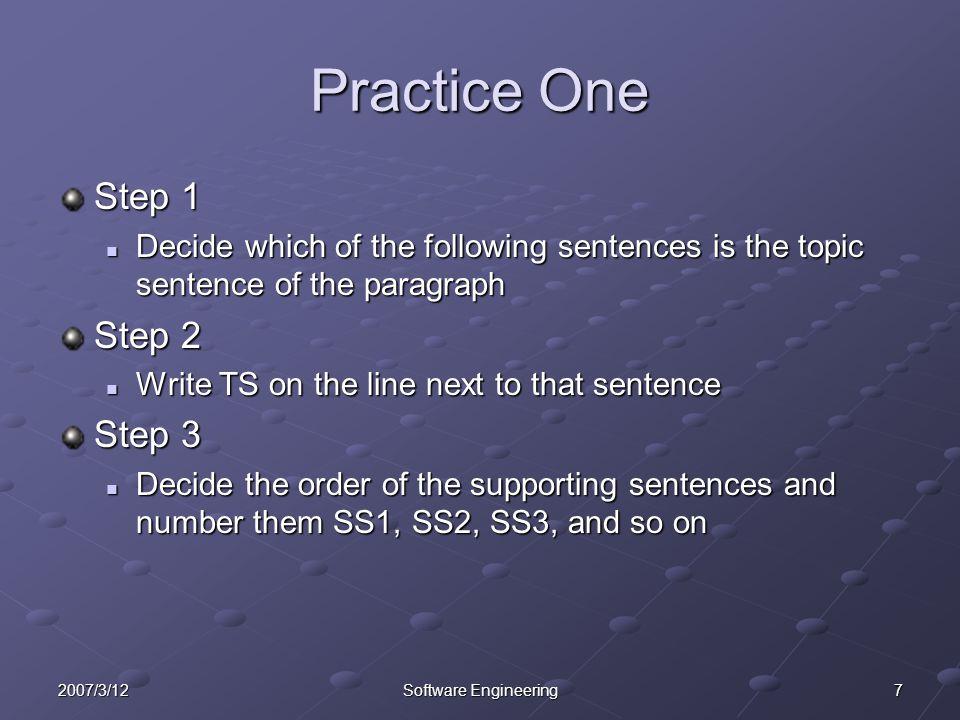 Practice One Step 1 Step 2 Step 3