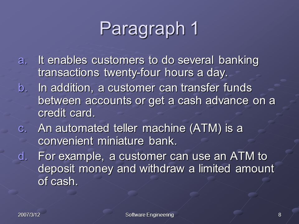 Paragraph 1 It enables customers to do several banking transactions twenty-four hours a day.