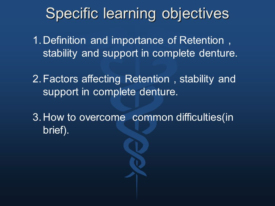 Specific learning objectives